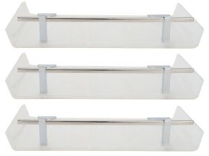 Buy Horseway White Color Marble Designed Acrylic Wall Shelf - 12x5 Inch - Set Of 3 online
