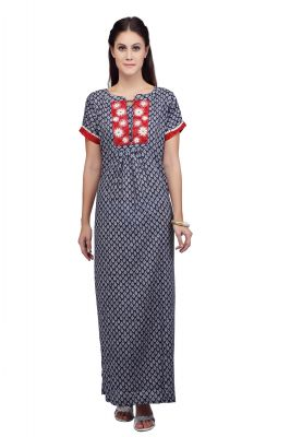 Buy Silkys' Printed Short Sleeves Blue Cotton Nighty For Women online
