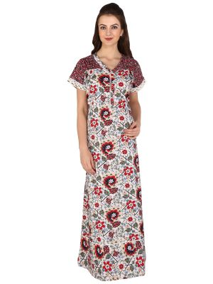 Buy Silkys' Floral Print Short Sleeves Red Cotton Nighty For Women online