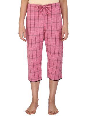 Buy Silkys' Checkered Regular Fit Cotton Capri For Women_ss553pnk online