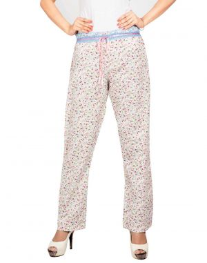Buy Silkys' Floral Printed Regular Fit Cotton Pyjama For Women online