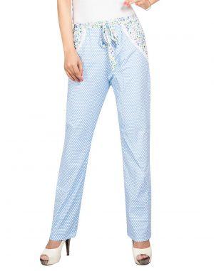 Buy Silkys' Polka Dot Regular Fit Cotton Pyjama For Women_ss560ablu online