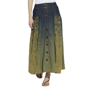 Buy Viro Yellow Color Mid Rise Regular Fit Cotton Fabric Ankle Length Skirt For Women -vi110lmn online