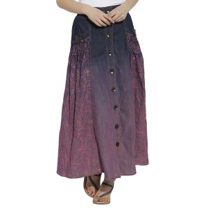 Buy VIRO Pink color Mid Rise Regular Fit Cotton fabric Ankle Length skirt for women online