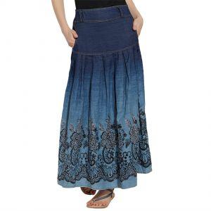 Buy VIRO Dark Blue color Mid Rise Regular Fit Denim fabric Ankle Length skirt for women online