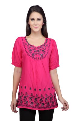 Buy VIRO Cotton fabric Embroidered V Neck Short Sleeves Pink color Top for womens online