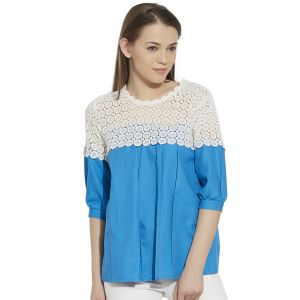 Buy Viro 3/4th Sleeves Round Neck Cotton Fabric Blue Top For Women-vi99263blu online