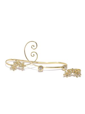 Buy Tipsyfly Western Gold Blossom Haathphool And Ring Set For Women-002hp online