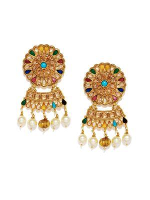 Buy Tipsyfly Navratna Ethnic Earrings For Women-1126e online