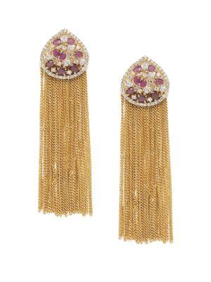 Buy Tipsyfly Ruby Tassels Ethnic Earrings For Women-1135e online