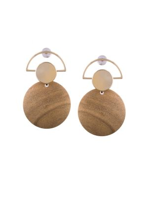 Buy Tipsyfly Post And Back Closure Cream Alloy Drop Earrings For Womens online