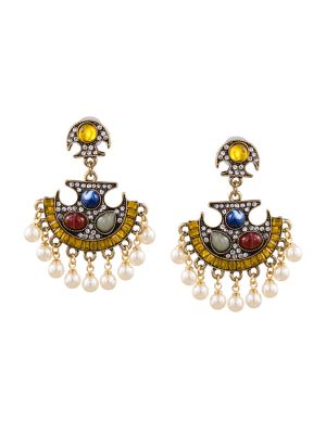 Buy Tipsyfly Post And Back Closure Yellow Alloy Drop Earrings For Womens online