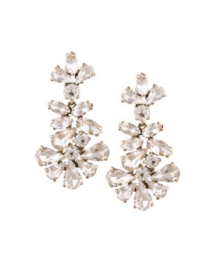 Buy Tipsyfly Post And Back Closure White Alloy Drop Earrings For Womens online