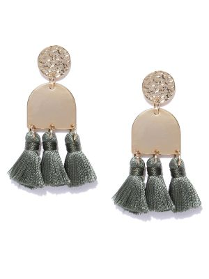 Buy Tipsyfly Post & Back Closure Green Alloy Drop Earrings For Womens online