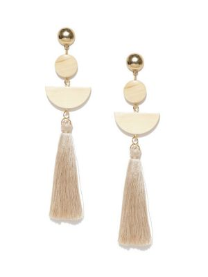 Buy Tipsyfly Post & Back Closure Cream Alloy Drop Earrings For Womens online