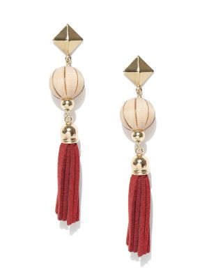 Buy Tipsyfly Post & Back Closure Red Alloy Drop Earrings For Womens online