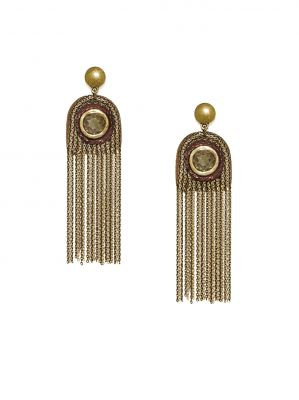 Buy Tipsyfly Crystallayered Fall Gold Color Drop Earrings For Women online