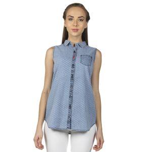 Buy B Kind Printed Denim Dobby Sleeveless Shirt With Trims On Pocket 1645 online