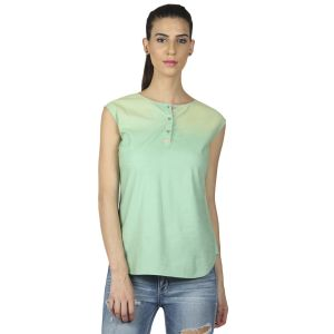 Buy B Kind Sleeveless Spot Spray Washed Chambray Top With Leather Trim On Placket 1693 online