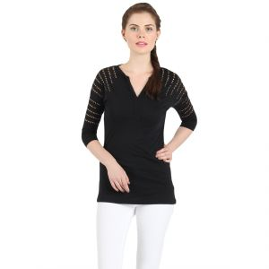 Buy B Kind Women'S  Black Poly Cotton Jersey  Solid  T-Shirt online