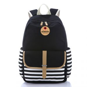 Buy Bonmaro Bell Black Casual Canvas School/college Backpack Bag online