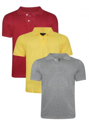 Buy Tangy Pack Of 3 Mens Red&Yellow&Grey Polo T-Shirt online