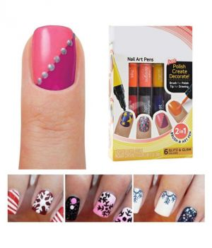 Buy Kartsasta 2 In 1 Hot Designs Beautiful Nail Art Polish Pens With 6 Glitz & Glam Colors online