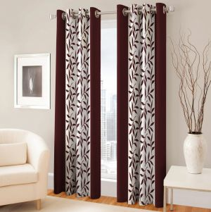 Buy Best&well Polyester Eyelet Door Curtain (4x7 Ft) Brown - Pack Of 2 online