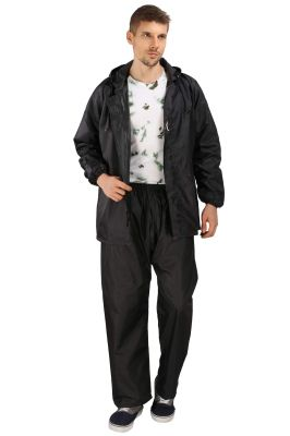 Buy Real Rainwear Black Reflected Back Strip,Matching Pvc Lining With Inner Pockets For Men'S online