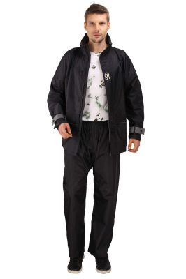 Buy Real Rainwear Black Fibre Pick For Protection From Rain, Adjustment Straps, Reflected Back Strip  For Men'S online
