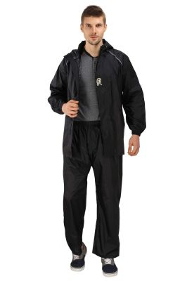 Buy Real Rainwear Black Lightweight Nylon Rainsuit With Reflective Strips For Men'S online