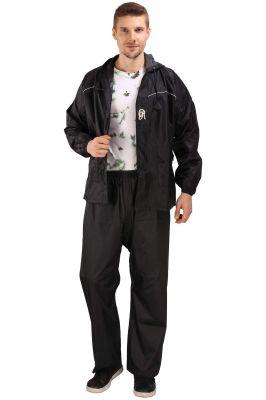 Buy Real Rainwear Black Nylon Rainsuit With Checks Fabric For Men'S online