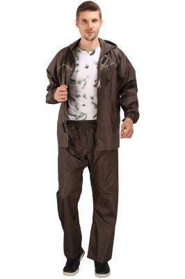 Buy Real Rainwear Brown Nylon Rainsuit With Checks Fabric For Men'S online