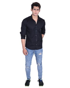 Buy Roller Fashions Black Colour Solid Full Sleeves Slim Fit Smart Casual Shirt online