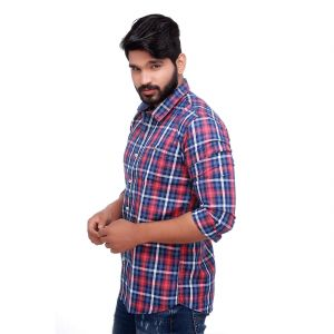 Buy Pink Twill Checked Slim Fit Men's Casuals Shirt From Rollerfashions online