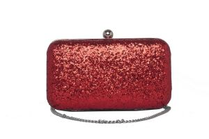 Buy Rysha Red Color Solid Pu Clutch For Women online