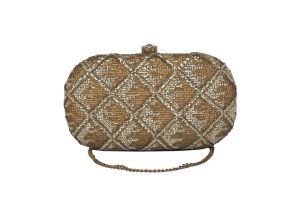 Buy Rysha Gold Color Checkered  Fabric Clutch For Women online