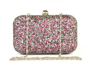 Buy Rysha Multicolor Metal & Pu Solid Pattern Box Clutch For Womens online
