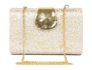Buy Rysha Gold Pu Paisley Pattern Box Clutch For Womens - Ry1004 online