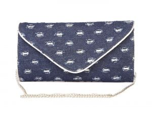 Buy Rysha Blue Denim Self Design Clutch For Womens online