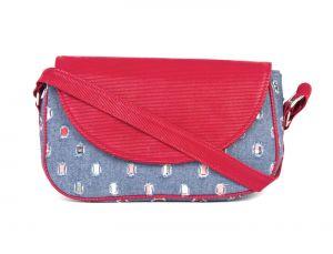 Buy Rysha Blue & Red Denim & Pu Self Design Crossbody Sling Bag For Womens online