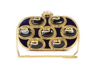 Buy Rysha Royal Blue Metal Self Design Clutch For Womens online