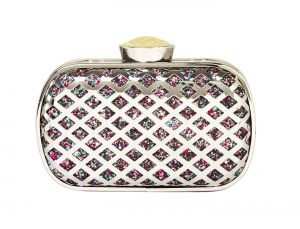 Buy Rysha Silver Metal & Pu Checkered Pattern Clutch For Womens - Ry1033 online