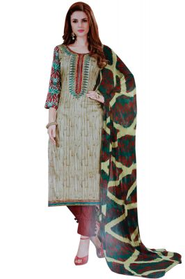 Buy Biba Embroidered Salwar Suit with Dupatta Dress Material online