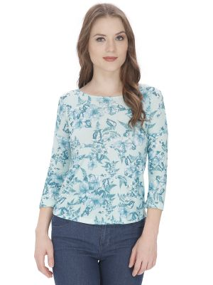 Buy Bella Figura Couture Green Printed Top For Women online