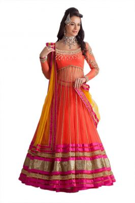 Buy Ellis Harvey Stunning Orange Semi Stitched Lehenga Choli Eh_966 online