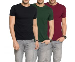 Buy Zorchee Mens Round Neck Cotton Plain T-Shirts - Pack of 3 online