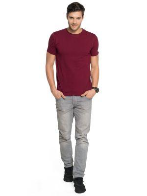 Buy Zorchee Men's Round Neck Half Sleeve Cotton T-shirts - Maroon (zo-06pl) online