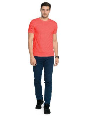 Buy Zorchee Men's Round Neck Half Sleeve Cotton T-shirts - Coral Melange (zo-15pl) online
