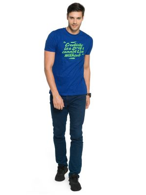 Buy Zorchee Men's Round Neck Half Sleeve Cotton T-shirts - Royal Blue (zo10) online
